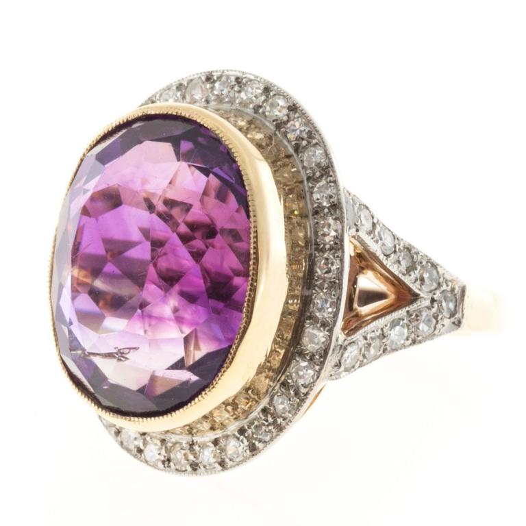 Oval Amethyst Diamond Rose Gold Platinum Ring 4