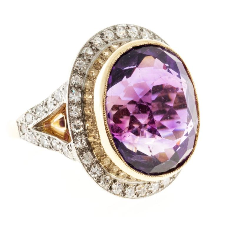 Oval Amethyst Diamond Rose Gold Platinum Ring 1