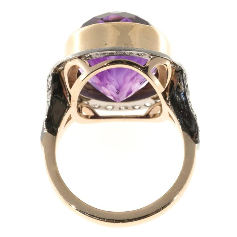 Oval Amethyst Diamond Rose Gold Platinum Ring 2