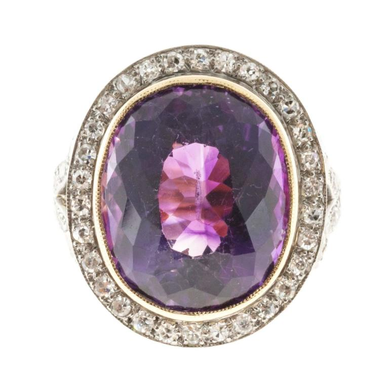 Oval Amethyst Diamond Rose Gold Platinum Ring 5