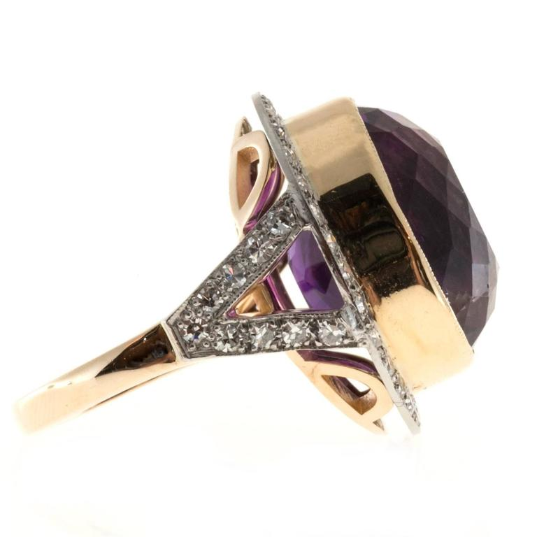 Oval Amethyst Diamond Rose Gold Platinum Ring In Good Condition For Sale In Stamford, CT