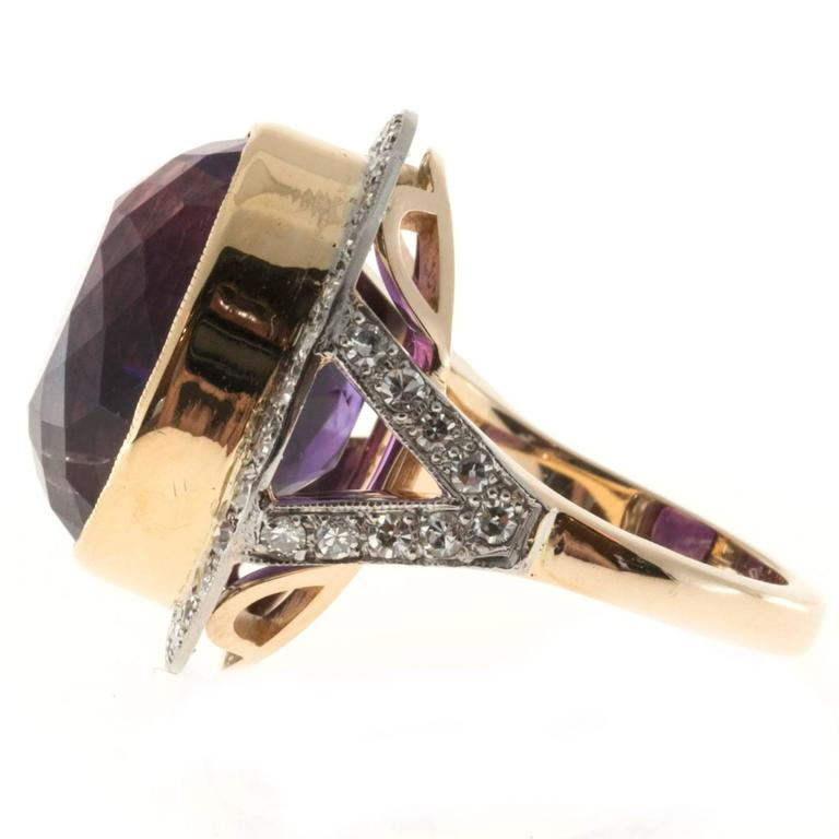 Oval Amethyst Diamond Rose Gold Platinum Ring 7
