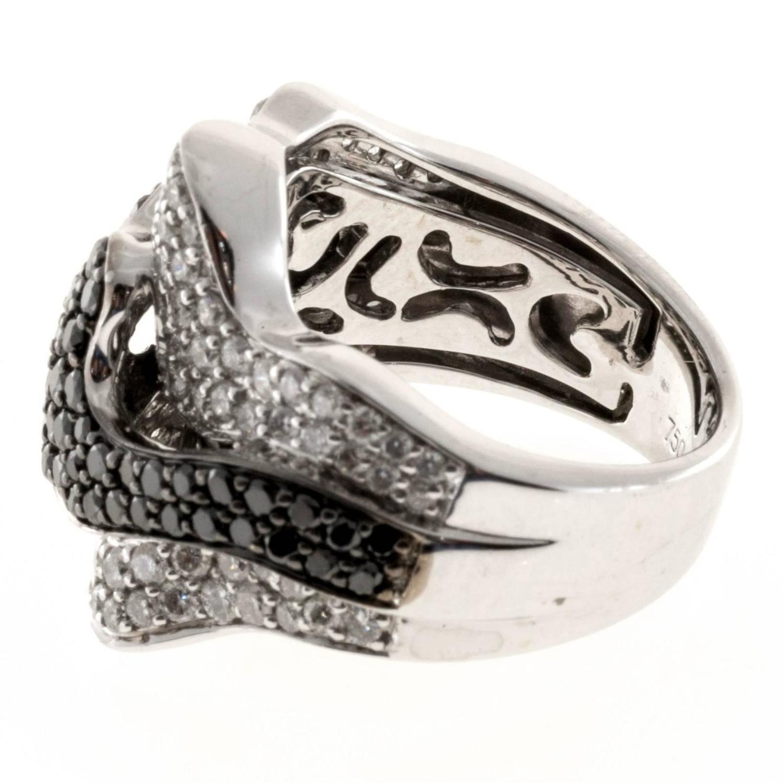 Sonia B Black Diamond White Gold Ribbon Design Ring For Sale at 1stdibs
