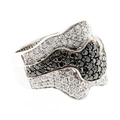 Sonia B  Black Diamond White Gold Ribbon Design Ring