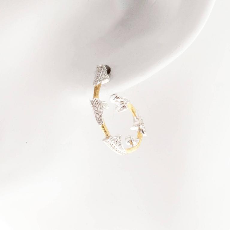 Women's Cordova Diamond Yellow White Gold Hoop Earrings For Sale