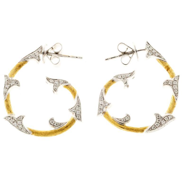 Cordova Diamond Yellow White Gold Hoop Earrings For Sale