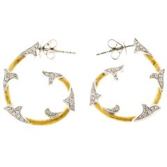 Cordova Diamond Yellow White Gold Hoop Earrings