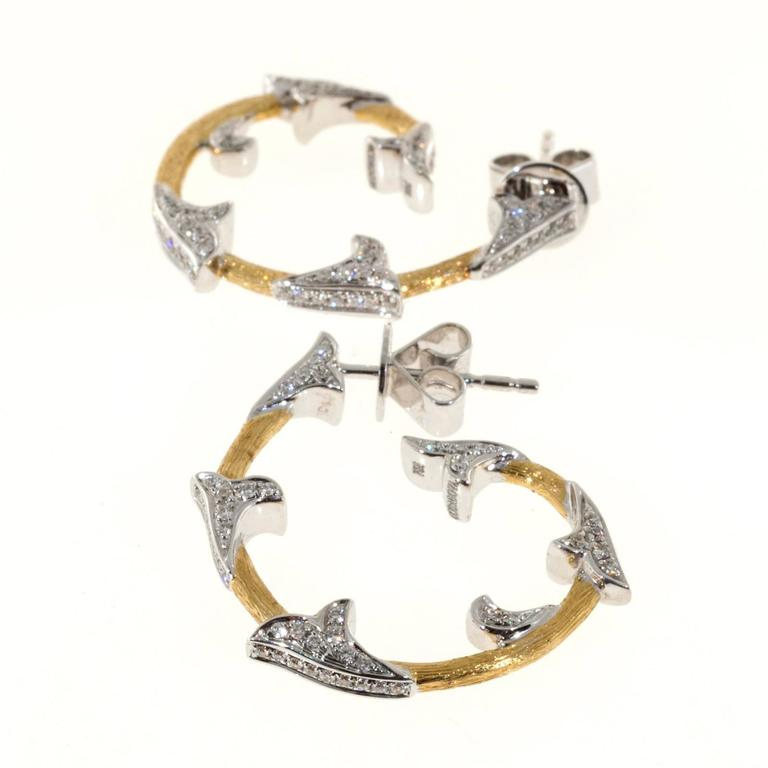 Cordova Diamond Yellow White Gold Hoop Earrings In Good Condition For Sale In Stamford, CT