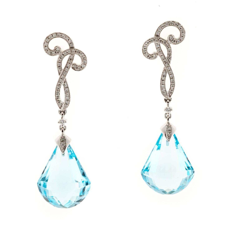 Cordova Blue Topaz Diamond White Gold Dangle Earrings For ...