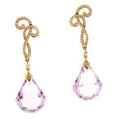 Cordova Rose de France Amethyst Diamond Gold Dangle Earrings