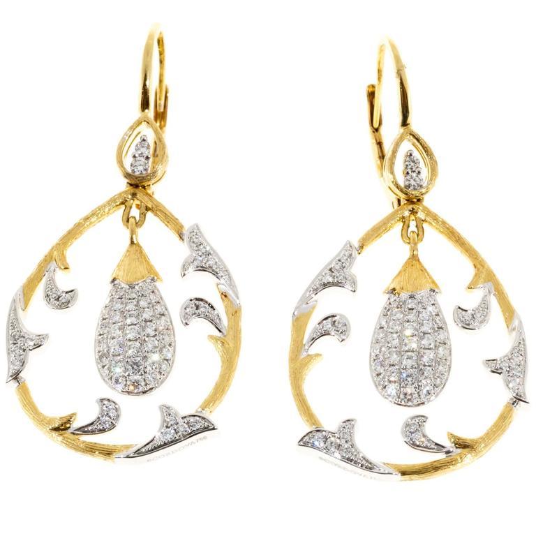 1980s Cordova Diamond Yellow and White Gold Dangle Earrings