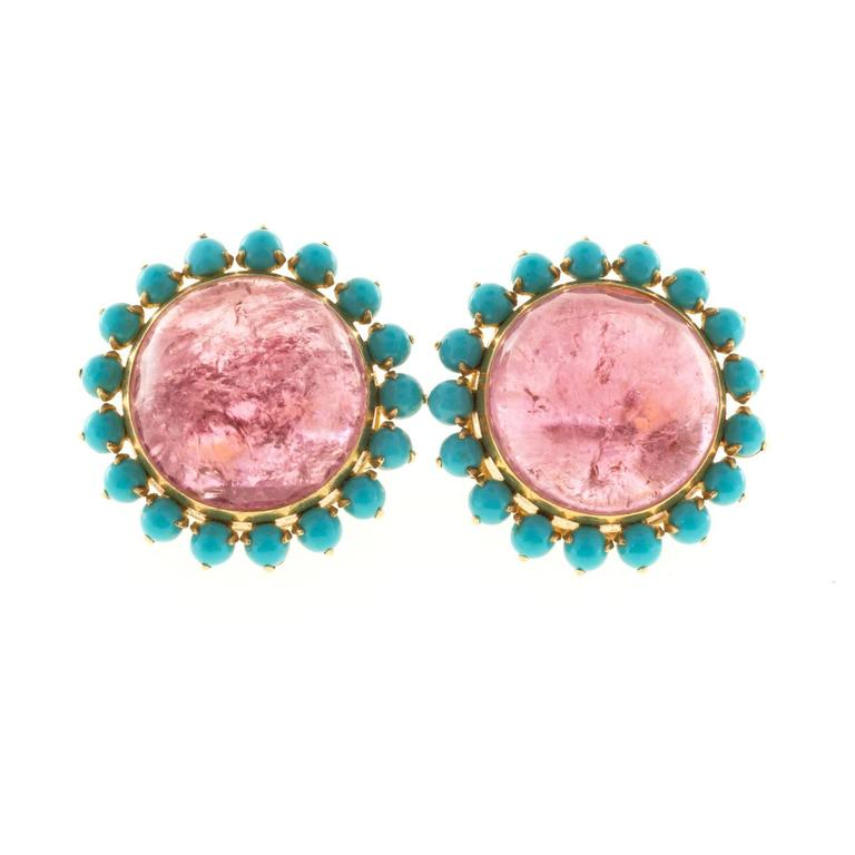 Pink Tourmaline Persian Turquoise Gold Earrings