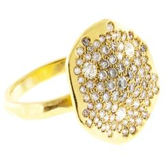 Asymmetrical Diamond Gold Pave Set Ring