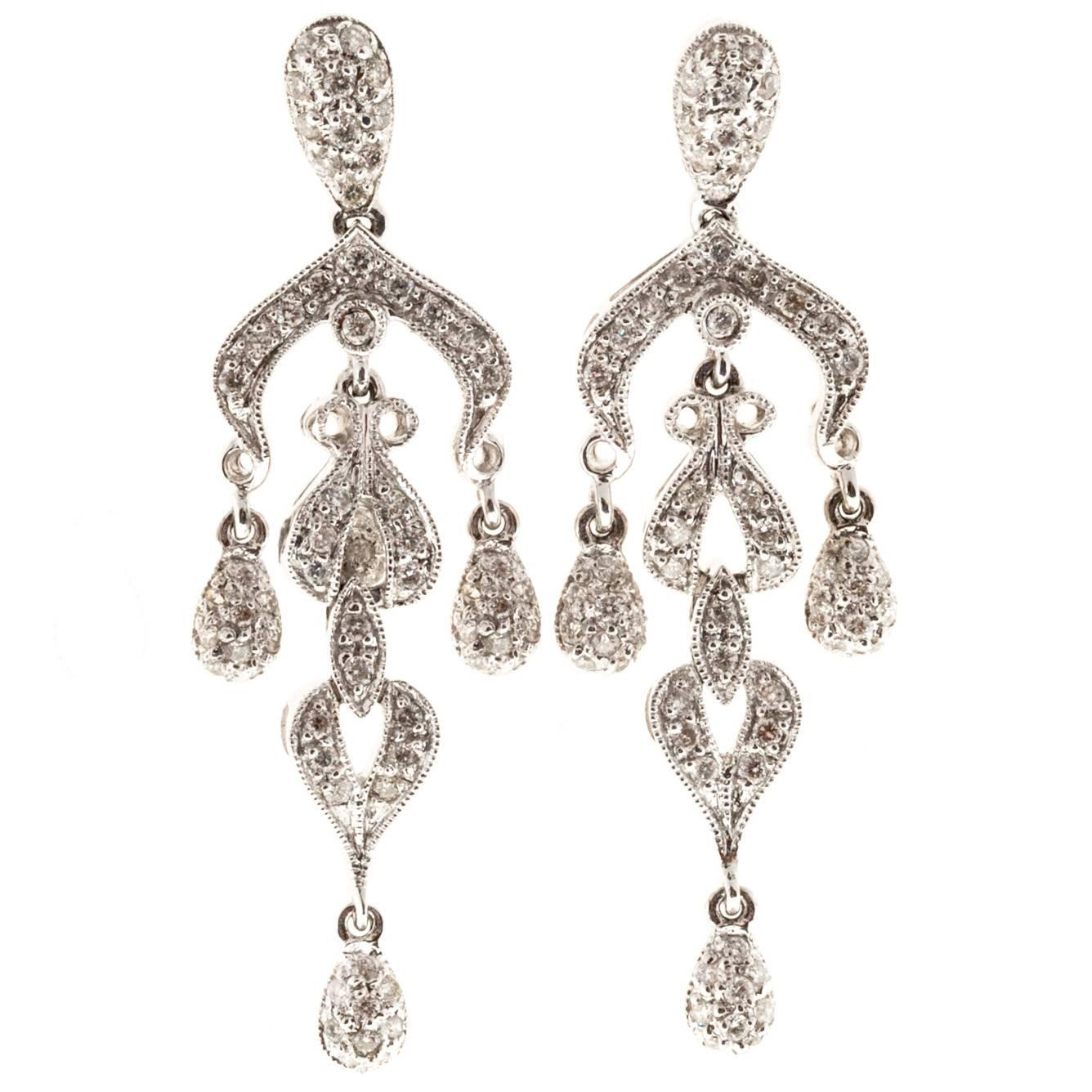 white gold dangle chandelier earrings for sale at