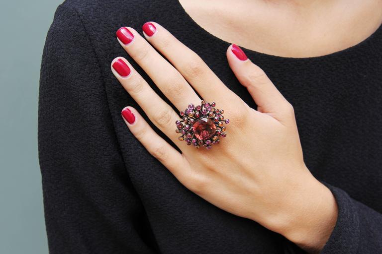 Lorenz Bäumer Tourmaline Sapphire Diamond Gold Chardon Ring 2