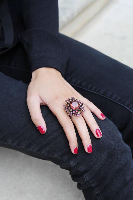 Lorenz Bäumer Tourmaline Sapphire Diamond Gold Chardon Ring 3