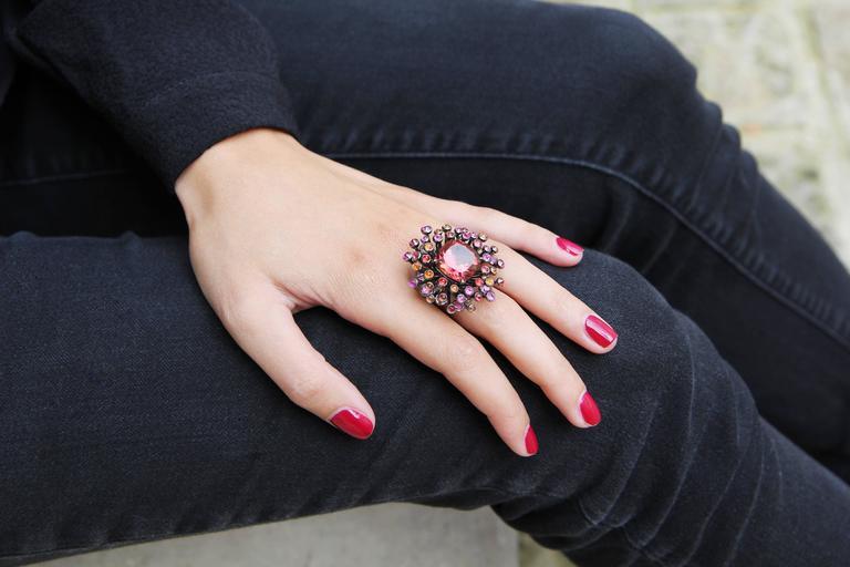 Lorenz Bäumer Tourmaline Sapphire Diamond Gold Chardon Ring 4