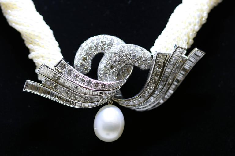 Art Deco Akoya Keshi Pearl Necklace For Sale