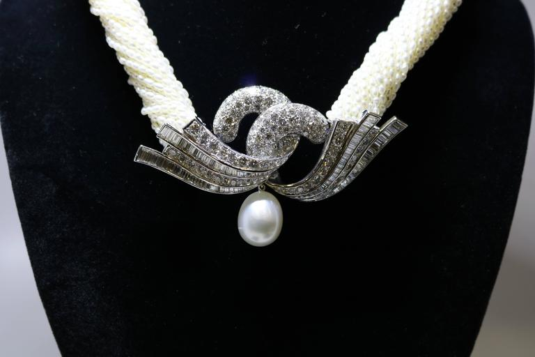 Akoya Keshi Pearl Necklace In Excellent Condition For Sale In New York, NY