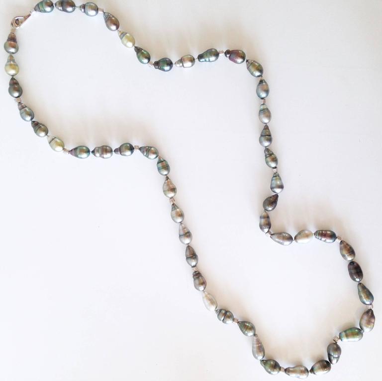 Artist Roaring Twenties Black Tahitian Pearl Necklace For Sale