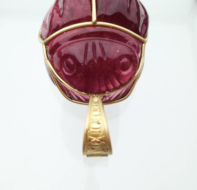 "Rubellite 147.6 ct. with Gold Bale ""Scarab Beetle Pendant"" 2"