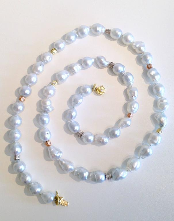 Silver-White Baroque Pearl Necklace with Diamond and Gold Beads 5