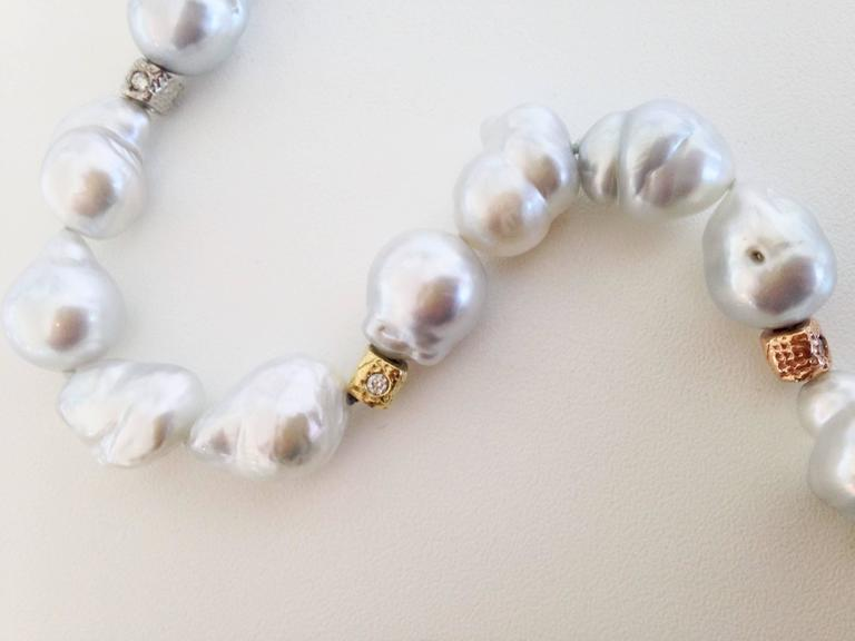 Silver-White Baroque Pearl Necklace with Diamond and Gold Beads 2