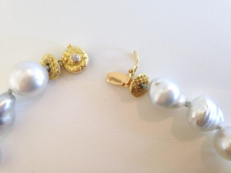 Silver-White Baroque Pearl Necklace with Diamond and Gold Beads 4