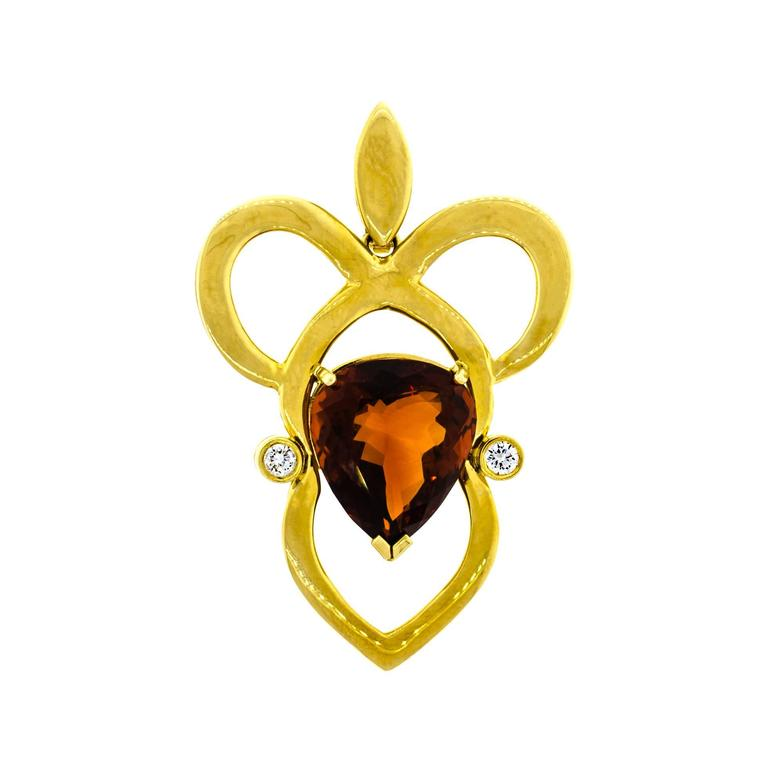 Citrine Diamond 18 Karat Yellow Gold Pendant