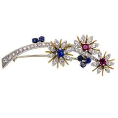Yellow Gold Platinum Floral Brooch, circa 1950