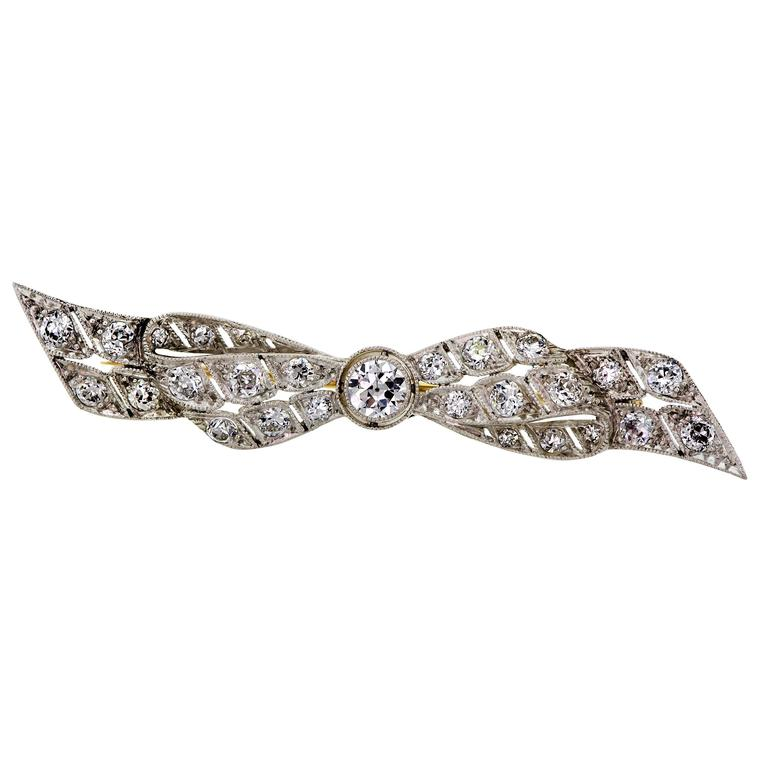 Edwardian Diamond Platinum Bow Brooch