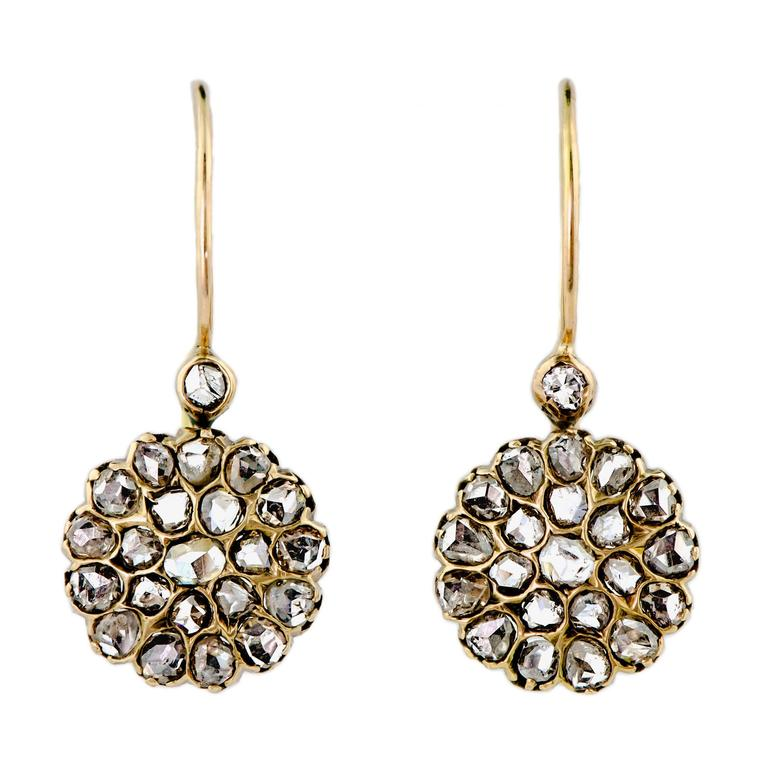 Beautiful Victorian Rose-Cut Diamond and Yellow Gold Cluster Earrings