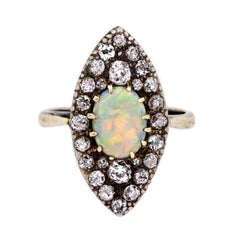 Victorian Opal and Diamond Silver Topped Ring