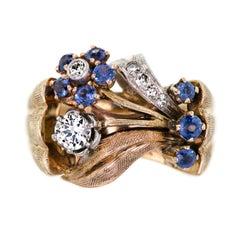 Retro Diamond Sapphire Rose Gold Platinum Stylized Floral Ring