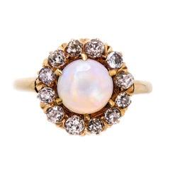 Victorian Opal Diamond Yellow Gold Ring, circa 1900
