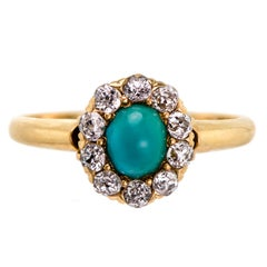 Sweet Victorian Turquoise and Diamond Ring