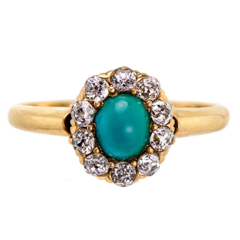 Sweet Victorian Turquoise and Diamond Ring For Sale