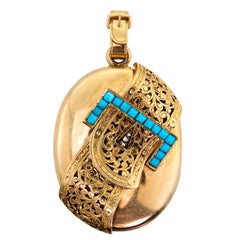 Attractive Victorian Turquoise Diamond Yellow Gold Locket