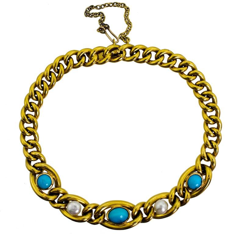 English Victorian Turquise Pearl 15 Carat Yellow Gold Bracelet