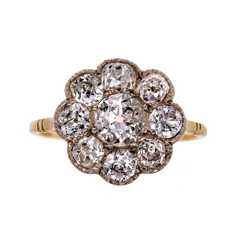 Victorian Diamond and Yellow Gold Cluster Ring