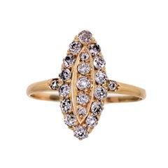 Splendid Victorian Diamond Cluster Navette Yellow Gold Ring