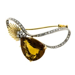 Stunning Retro 18KT Gold Platinum Citrine and Diamond Brooch