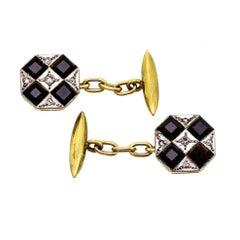 Wonderful Art Deco Black Onyx Diamond Cufflinks