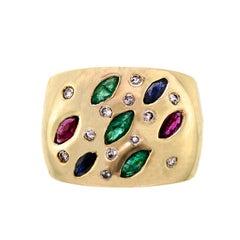 Impressive Vintage Heavy 14 Karat Diamond Emerald Ruby Sapphire Cocktail Ring