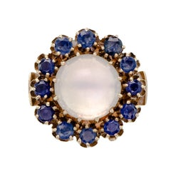 Moonstone and Sapphire Vintage Estate Cocktail Ring