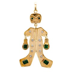 Whimsical Articulated 18 Karat Gold Emerald Diamond Figural Pendant