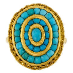 Vintage 14 Karat Yellow Gold Turquoise Ring