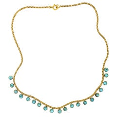 Wonderful Turn of the Century Antique Turquoise and 18 Karat Gold Necklace