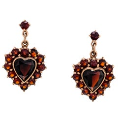 Vintage circa 1940 Garnet Heart Shaped Pendant Drop Earrings