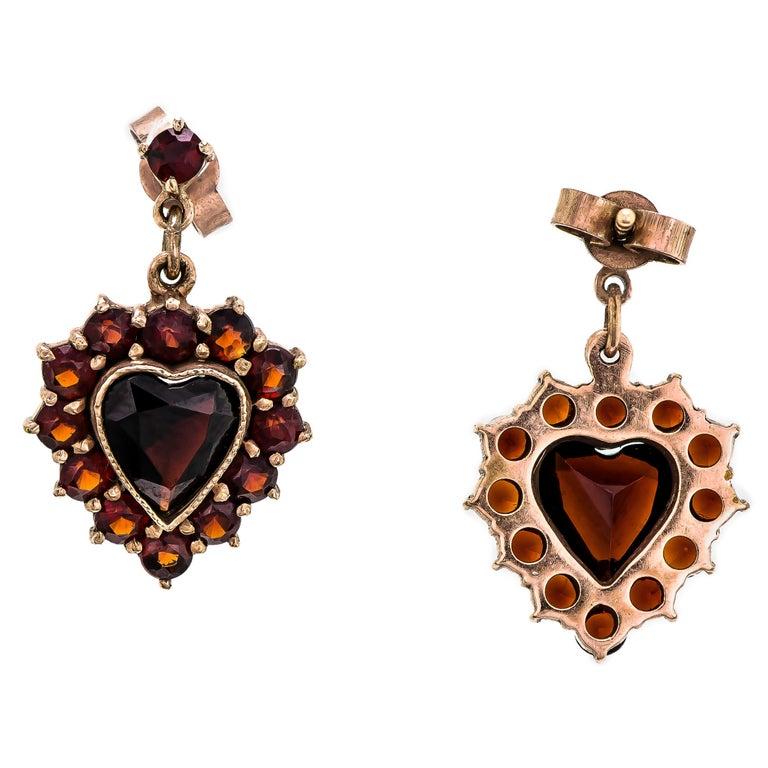 Lovely Vintage Circa 1940 Garnet Heart Shaped Pendant Drop Earrings On 14k Yellow Gold Posts